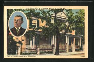 AK Staunton, Va., Portrait und Geburtshaus von Woodrow Wilson, Präsident der USA