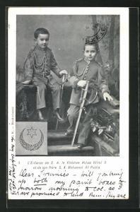 AK Ägypten, L`Enfance de S. A. le Khedive Abbas Hilmi II et de son frere S. A. Mohamed Ali Pacha