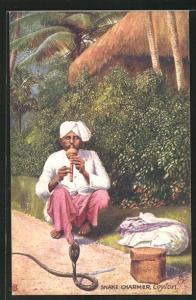 AK Ceylon, Snake Charmer, Schlangenbeschwörer mit Flöte