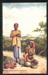 AK Ceylon, Conjurer & Snake Charmer, Zauberkünstler und Schlangenbeschwörer mit Flöte