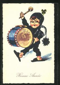 AK Schornsteinfegerjunge mit Besen und Trommel, Neujahrsgruss