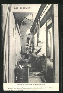 AK Les Gobelins, Metier de haute-lisse, Vue interieur, Teppichknüpfer
