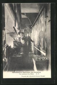 AK Manufacture Nationale des Gobelins, Vue interieure d`un Metier, Teppichknüpfer