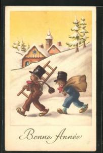 AK Schornsteinfegerjungen mit Leiter, Besen und Sack, Neujahrsgruss