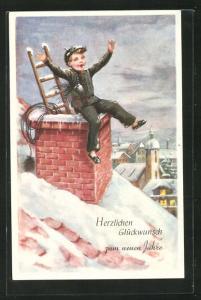 AK Schornsteinfegerjunge mit Leiter und Besen auf dem Dach, Neujahrsgruss