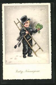 AK Schornsteinfegerjunge mit Leiter und Kleeblättern, Neujahrsgruss