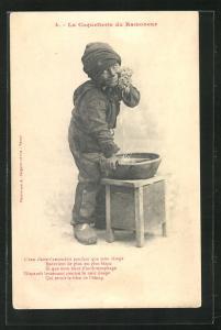 AK La Coquetterie du Ramoneur, Schornsteinfegerjunge wäscht sich