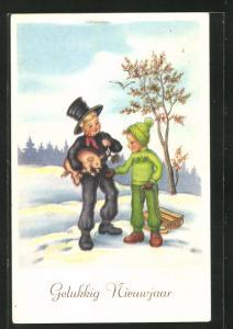 AK Schornsteinfegerjunge mit Glücksschwein und Junge mit Schlitten, Neujahrsgruss