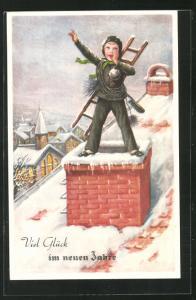 AK Schornsteinfegerjunge mit Besen und Leiter auf dem Dach, Neujahrsgruss