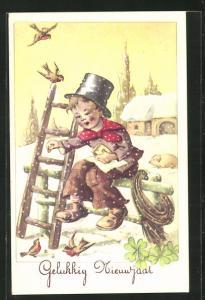 AK Schornsteinfegerjunge füttert im Winter die Vögel, Neujahrsgruss