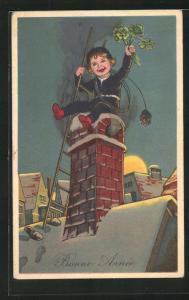 AK Schornsteinfegerjunge mit Leiter und Kleeblättern auf dem Dach, Neujahrsgruss