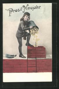 AK Schornsteinfegermädchen schüttet Münzen in den Schornstein, Neujahrsgruss