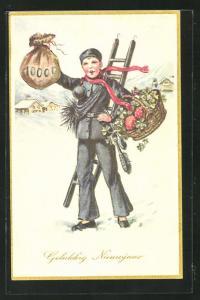 AK Schornsteinfegerjunge mit Geldsack und Korb mit Fliegenpilzen, Neujahrsgruss
