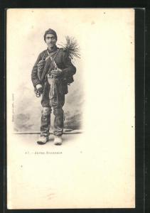 AK Jeune Ramoneur, Schornsteinfeger mit Besen