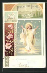 AK Peace on Earth, Kleines Mädchen unterm Sternenhimmel, Pony mit Fahne und Landschaft, Weihnachtsgruss