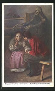 AK Benediction d`outre tombe, Mann und Frau im Gespräch, Im Hintergrund der Tod