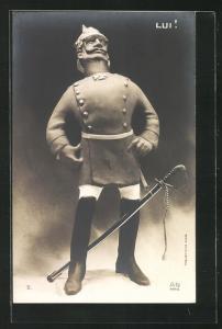 AK Karikatur Kaiser Wilhelm II. in Uniform mit Pickelhaube