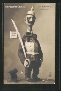 AK Karikatur Kaiser Wilhelm II. in Uniform mit Pickelhaube und Säbel