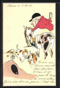 AK Jäger auf seinem Pferd mit Hunden