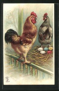 Präge-AK Hahn und Henne mit Ostereiern