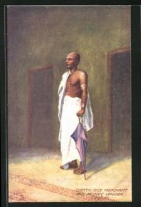 AK Ceylon, Chetty rice merchant and money lender, Reishändler und Geldverleiher