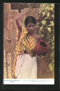 AK Ceylon, A Low-Caste Woman, Indische Frau mit Krug