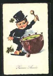 AK Schornsteinfeger mit einer Trommel, Neujahrsgruss