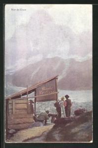AK Schleichwerbung für Cailler Schokolade, Mer de Glace, Bergsteiger am Gletscher