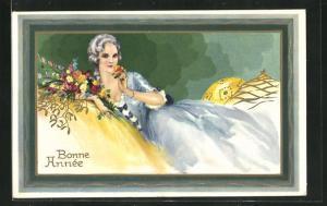 AK Art Deco, Junge Frau mit Blumen, Neujahrsgruss