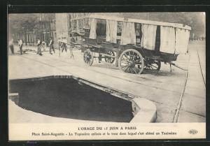 AK Paris, L`Orage du 15 Juin 1914, Place Saint-Augustin, Zerstörung nach Unwetter, Erdrutsch