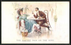 AK The fastest pair on the Rink, Paar auf Rollschuhen sitzt am Tisch