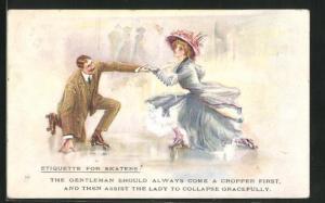 AK Paar auf Rollschuhen, Etiquette for Skaters, The Gentleman schould always com a cropper first...