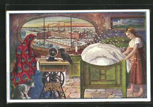 AK Alte Frau an der Original Victoia Nähmaschine, Junge Frau schüttelt die Federn