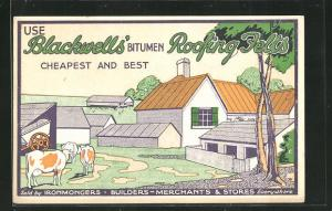 AK Reklame für Dachpappen Blackwells` Bitumen Roofing Felts