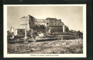 AK Toledo, Spanischer Bürgerkrieg, Blick auf den zerstörten Alcázar