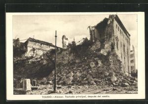 AK Toledo, Spanischer Bürgerkrieg, Zerstörter Alcázar, Hauptfassade