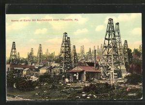 AK Scene of Early Oil Excitement near Titusville, Ölfeld mit Bohrtürmen