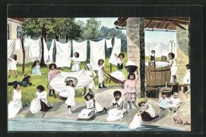 AK Kleine Waschfrauen machen grosse Wäsche