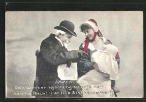 AK Hebamme mit Säugling und ein älterer Herr