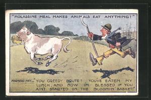 AK Reklame für Viehfutter Molassine Meal, Bauer verfolgt seine Kuh