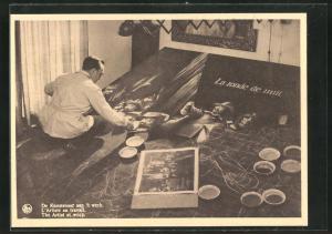 AK Künstler Pierre van Ransbeeck bei der Arbeit an einem Sandteppich