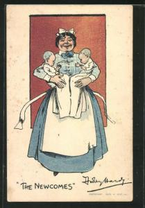 Künstler-AK Hebamme in Uniform hält zwei Babies im Arm, The Newcomes, Medizin