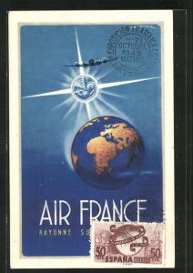 AK Tourismus, Air France, Passagierflugzeug fliegt über den Erdball, Flugzeug, Reseau Aerien Mondial