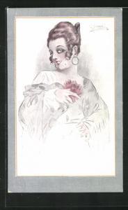 Künstler-Passepartout-AK Art Deco, Dame mit Schöheitsfleck und Schal schaut kokett