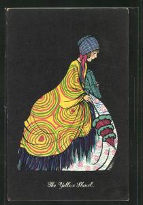 AK Art Deco, Dame in einem weiten bunten Kleid mit gelben Schal hält ein Geschenk, The Yellow Shawl