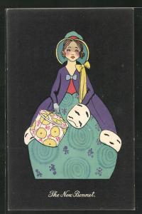 AK Art Deco, junge Dame in einem türkisen weitem Rock trägt Muff und Hutschachtel, The New Bonnet
