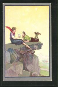 Passepartout-AK Art Deco, junge Frau mit Mann sitzen auf Felsvorsprung