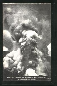 AK Waimangu, Vulkan, Last big Eruption that destroyed Accommodation House, Rauchsäule
