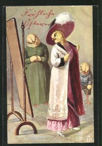 AK Osterküken als Menschen, Dame betrachtet sich im Mantel vor Spiegel mit Verkäuferin und kleinem Jungen