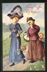 AK Osterküken als Menschen, elegante Frau mit Lorgnon wird von einfacher Frau und Kind angesprochen, Fröhliche Ostern